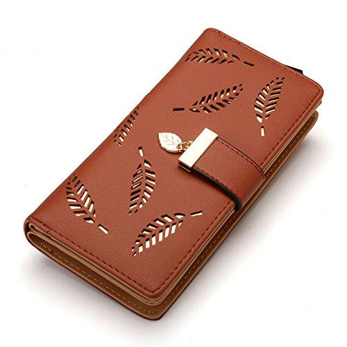 Scene Gift Card - Women's Long Leaf Bifold Wallet Leather Card Holder Purse Clutch Wallet