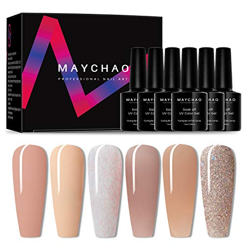 MAYCHAO Gel Nail Polishes,Classic Nude Series Gel Polish Set,Jelly Transparent Nude Glitter Nude Nail Varnish Soak Off…