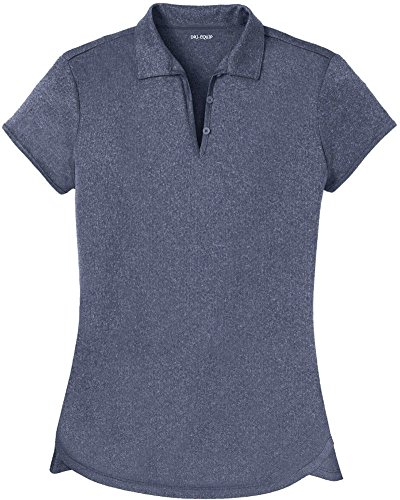 Joe's USA DRI-Equip(tm) Ladies Heathered Moisture Wicking Golf Polo-Navy-M