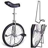 20'' Inches Wheel Skid Proof Tread Pattern Unicycle W/ Stand Uni-Cycle Bike Cycling CHROME