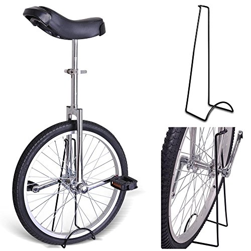 20'' Inches Wheel Skid Proof Tread Pattern Unicycle W/ Stand Uni-Cycle Bike Cycling CHROME by Jamden
