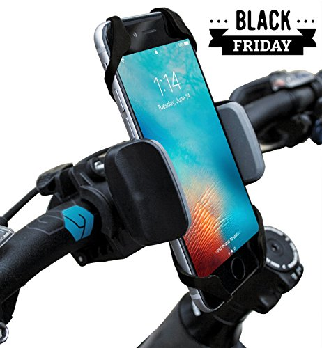 Widras Bike Phone Mount Bicycle Holder, Universal Cradle Clamp for iOS Android Smartphone, Boating GPS, Stroller, Other Devices, with 360 Degrees Rotatable, Rubber Strap - Black and Red