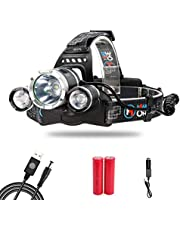 MakeTheOne Rechargeable Headlamp Powerful Bright Multi-colour Head Torch Perfect For Hunting Fishing Camping Night Vision