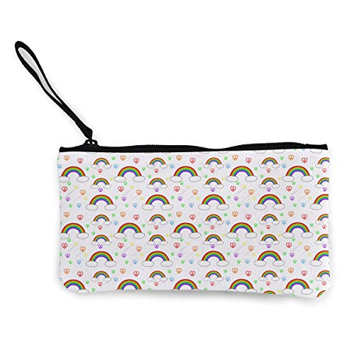 (Oomato Canvas Coin Purse Rainbow Cosmetic Makeup Storage Wallet Clutch Purse Pencil)