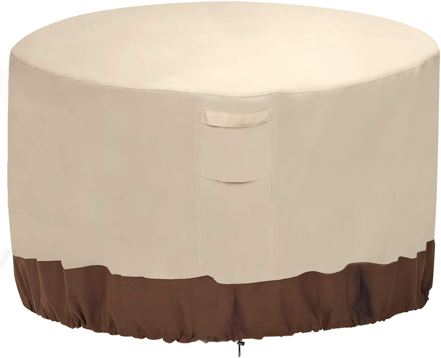 "Vailge Fire Pit Cover,100% Waterproof Round Patio Fire Bowl Cover,Outdoor Heavy Duty Gas Firepit Table Covers with Air Vent and Handle,36"" D x 20"" H,Beige & Brown"
