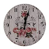 Cheap MagiDeal Vintage Wall Clock Rustic Shabby Chic Home Kitchen Wooden 30cm Decor #5