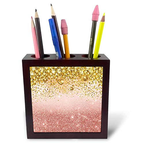 (3dRose Anne Marie Baugh - Glitter and Bling - Pink Faux Digitally Printed Glitter and Jewels - 5 inch Tile Pen Holder (ph_289226_1))