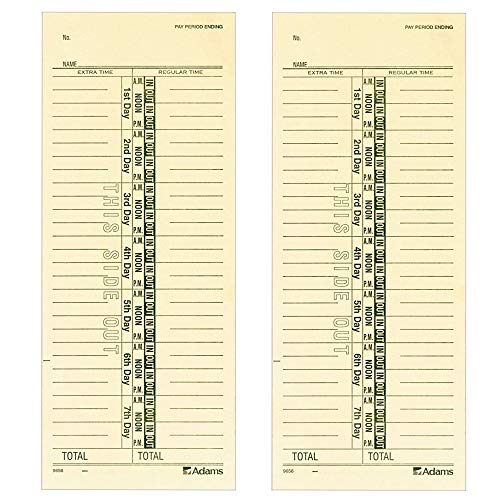 Adams Time Cards, Weekly, 1-Sided, Numbered Days, 3-3/8