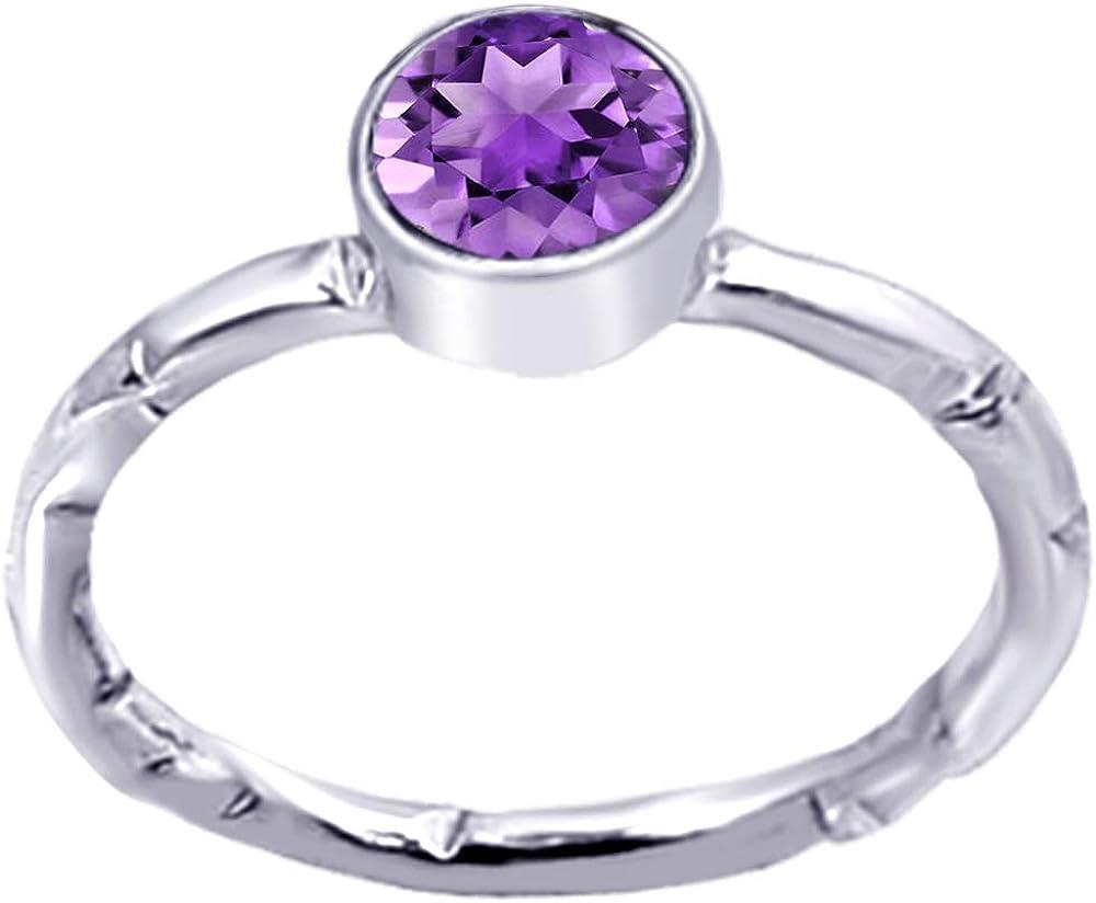 Sencillo Anillo En Amatista,Granate Plata De Ley 925 Orchid Jewelry