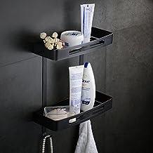 Hiendure Rectangular Shower Caddy - Stainless Steel Wall Mount Shower Basket for Bathroom , Matt Black