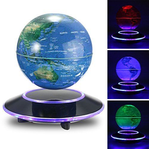 Jeteven 6'' Magnetic Rotating Globe Anti-Gravity Floating Levitating Earth Multi-Color LED Display 360 Degree Rotating for Desktop Office Home Decor Kids Educational Home Decor