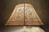 Mandala Large Floor Lampshade | Leather Floral Lamp Shade Hand Painted in Amber Red | Octagonal Lamp Shade - Height - 9.5IN, Width - 16IN