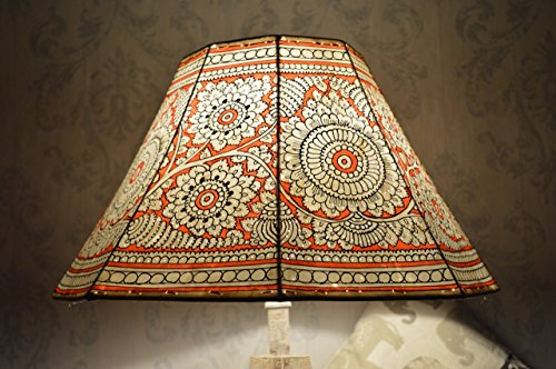 Mandala Large Floor Lampshade | Leather Floral Lamp Shade Hand Painted in Amber Red | Octagonal Lamp Shade - Height - 9.5IN, Width - 16IN by ChaYaA