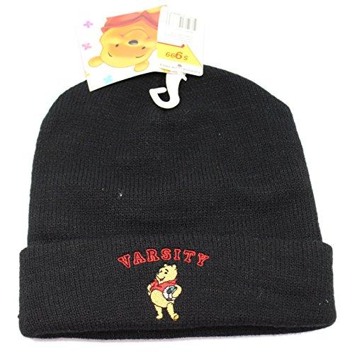 (Black Varsity Winnie the Pooh Knit Beanie Cap)