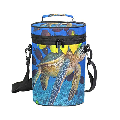 Wine Totes Travel Carrier Cooler Bag with Shoulder Strap Turtle And Beautiful Small Fish 2 Bottle Picnic Cooler Bag with Insulated Neoprene Leakproof Liner,Water Drinks Beer Lunch Bag for Grocery,Camp