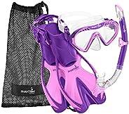 Phantom Aquatics Rapido Boutique Collection Sea Breeze Kids Snorkel Set with Flippers – Anti-Fog Jr Kids Scuba