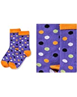 Giftcraft Yo Sox Polka Dots Women's Purple Halloween Crew Socks