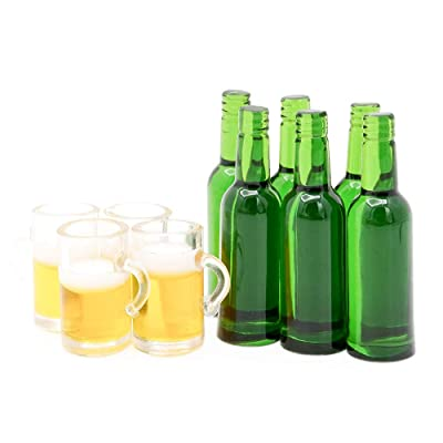Odoria 1:12 Miniature 6PCS Beer Bottles and 4PCS Mugs Dollhouse Kitchen Accessories: Toys & Games