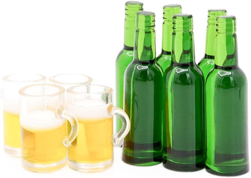 Odoria 1/12 Miniatura 6pz Botellas de Cerveza y 4pz Jarras Cocina Accesorio para Casa de Muñecas