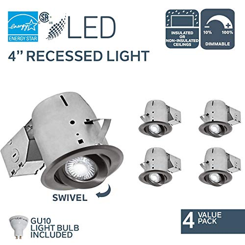 (Nadair CP378L-GU4BN 4 Pack 4in LED Swivel Dimmable Downlight Recessed Light , 3000K, 4 X LED GU10 550 Lumens Bulb Included, IC Rated, Brushed Nickel)