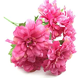 Lopkey Silk Artificial Bouquet Wedding Decoration Chrysanthemum Fake Flower Rose Red,2Pcs 108