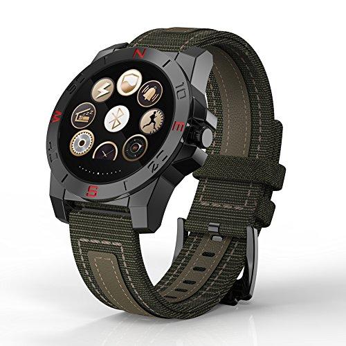 Teckey Luxus N10 Smart Watch exterior de Sport Smartwatch con pulsómetro y brújula de reloj impermeable para iPhone y Android (Negro)
