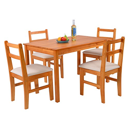 Giantex 5 pcs pine wood dining set table and 4 upholstered for Kitchen set node attributes