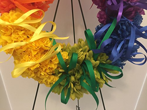 COLLEGE PRIDE - SPIRIT - LGBTQ - STUDENT ORGANIZATIONS - UNIVERSITY DIVERSITY GROUPS - GAY PRIDE - DORM - COLLECTOR WREATH - RAINBOW CARNATIONS, ZINNIAS, AND DAISIES - RAINBOW FLAG by Peters Partners Design (Image #4)
