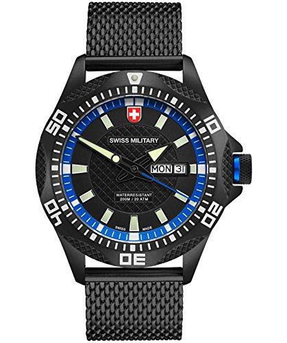 CX Swiss Military TANK NERO Day/Date watch PVD case/bracelet Black/Blu dial 2742