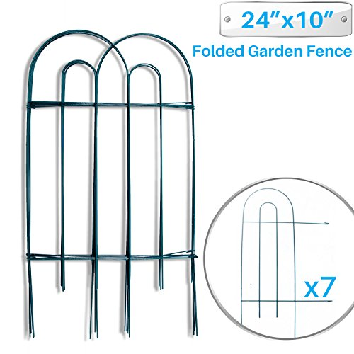 PATIO Paradise Garden Border Folding Fence 24 x 10-Inch - 7 Panels Garden Barrier Portable Decorative Flower Fence Wire Metal Anchor ()