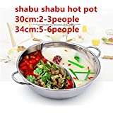 Asia Stainless Steel Shabu Shabu Hot Pot Yuanyang Pots With Divider for Induction Cooktop Gas Stove