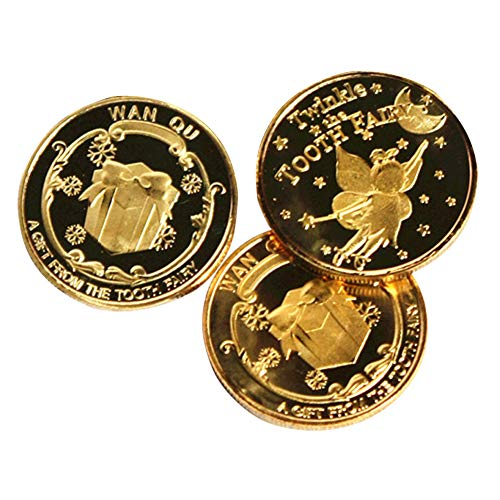 (Exttlliy Zinc Alloy Novelty Tooth Fairy Gold Coin Baby Toy Reward Golden Coins Special Fairy Money (3 Pack))