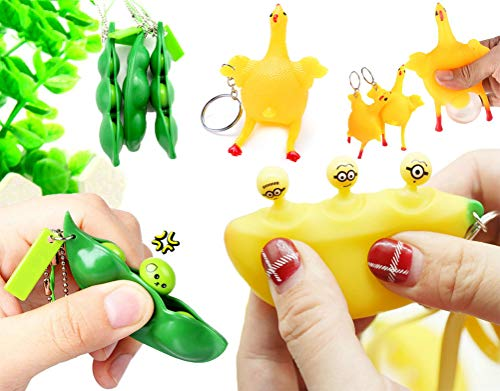 Cocobuy 3 Pack Squeezing Toys Key Chain Squeeze Banana Squeeze Bean Squeeze Chicken Stress Reliever Banana Fidget Toys with Key Chain (Color ()