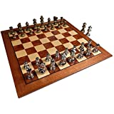 Hayes Inlaid Maple, Mahogany, and Sapele Wood Chess Board with 2.5 Inch Metal Pieces and Extra Queens – 15 Inch Set (Large)