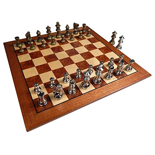 Hayes Inlaid Maple, Mahogany, and Sapele Wood Chess Board with 2.5 Inch Metal Pieces and Extra Queens – 15 Inch Set (Large) ()