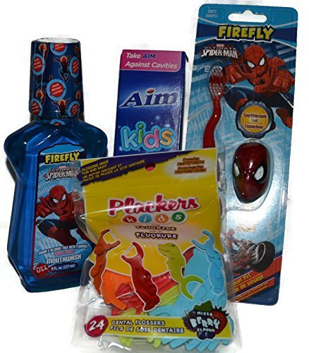 Children's Dental Care Bundle of 4 Items Include Spider M...