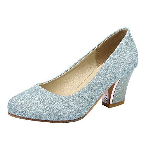 Carolbar Vrouwen Plus Size Glanzende Pailletten Bruidsjurk Mid Hielen Pumps Schoenen Blauw
