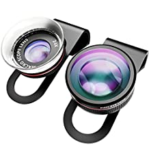 VicTsing i6 Professional Phone lens Kit, 3 in 1 Fisheye Lens with 0.4X Super Wide Angle Lens & 24X Super Macro Camera Lens & 12X Macro, Clip On Cell Phone Camera Lens Kits for iPhone & Most Smartphones