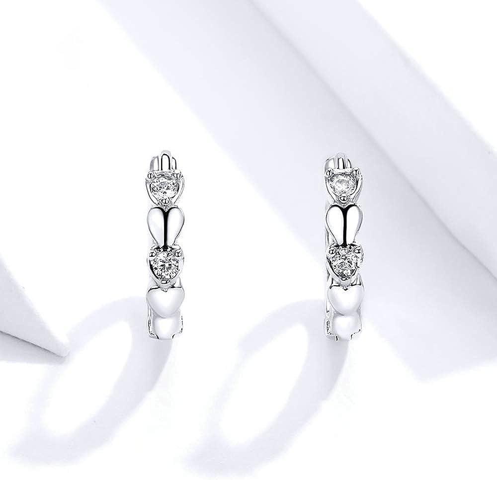 Sterling Silver Love Heart Small Hoop Earrings for Women Teen Girls Cubic Zirconia Cartilage Huggie Hoops Hypoallergenic Earrings Cute Tiny Hoops Earring for Valentines Day Gifts