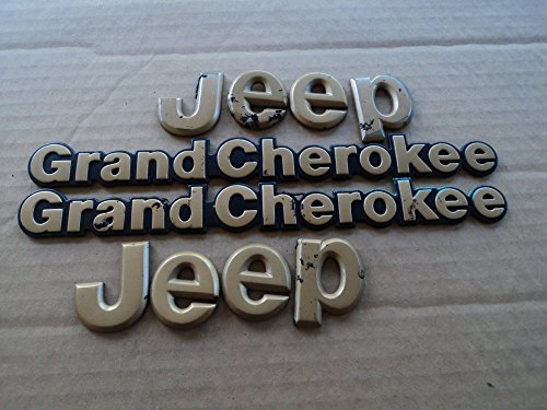 94-95 Jeep Grand Cherokee Gold Hood Logo Side Used Emblem Rear Trunk Script Set of 4 Decals Logos