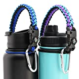 TOPOKO Paracord Handle for Hydro Flask & Wide Mouth Bottles - Includes Safety Ring, Carabiner Clip, Compass, Whistle, Knife, Fire Starter