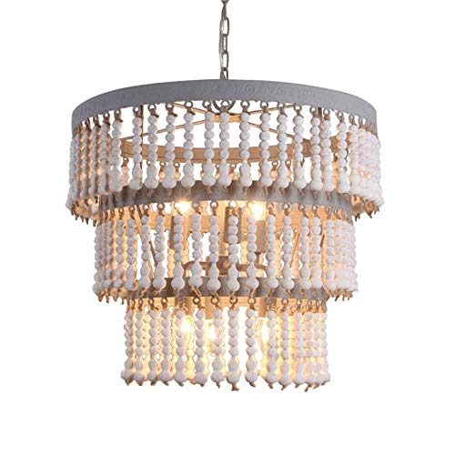 JinYuZe Creative 3-Tier Round Wood Beads Chandelier, Retro Vintage Antique Farmhouse Kitchen Ceiling Pendant Lamp 6-Light Fixtures,Grey