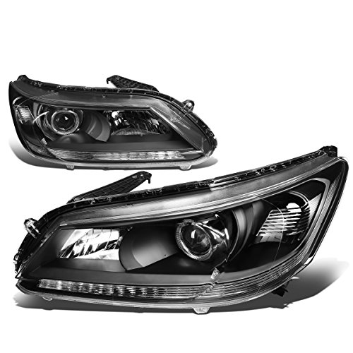 For Honda Accord 4-Door Sedan Pair of Black Housing Clear Corner Projector Headlight