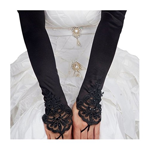 Dormencir Women's Classic Bridal Lace Embroidered Fingerless Satin Gloves Accessories Black (Classic Burlesque Costumes)