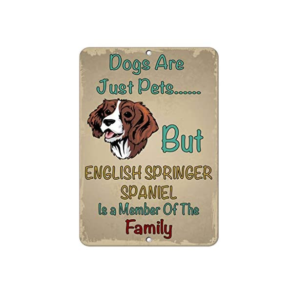 Aluminum Metal Sign Funny English Springer Spaniel Dog Dogs Just Pets But Informative Novelty Wall Art Vertical 12INx18IN 1
