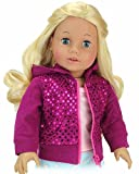 Sequin Detailed 18 Inch Doll Hoodie Hot Pink Sweatshirt Fits 18 Inch American Girl Dolls & More! Sequin Pink Doll Sweatshirt Hoodie