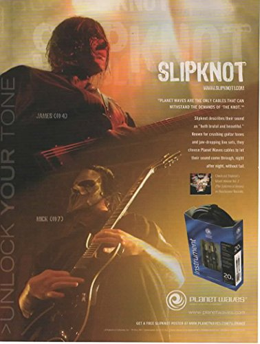 Magazine Print Ad: 2005 James Root #4 and Mick Thomson #7 from Slipknot, for Plant Waves Cables,