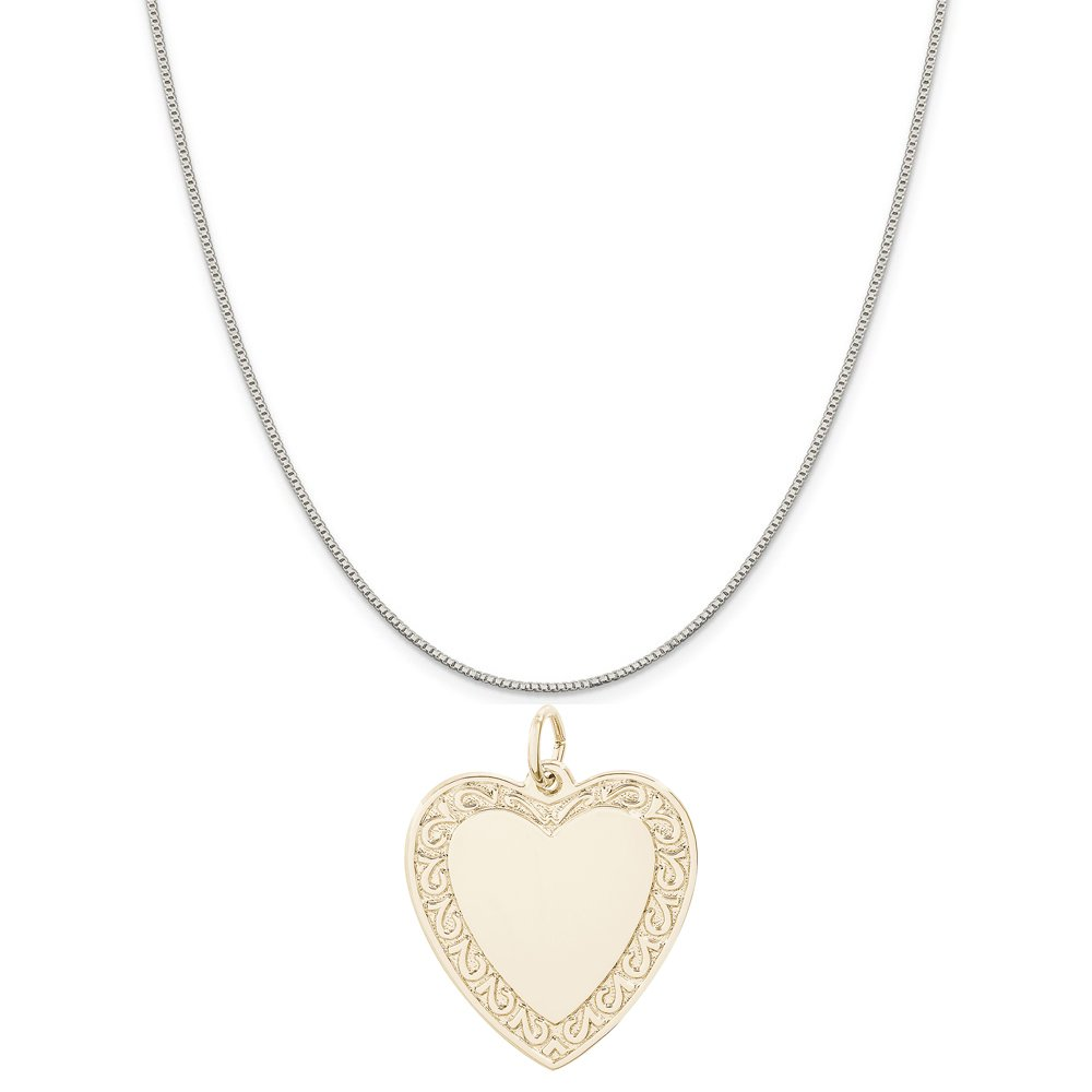 18 or 20 inch Rope Rembrandt Charms Two-Tone Sterling Silver Scrolled Classic Heart Charm on a Sterling Silver 16 Box or Curb Chain Necklace