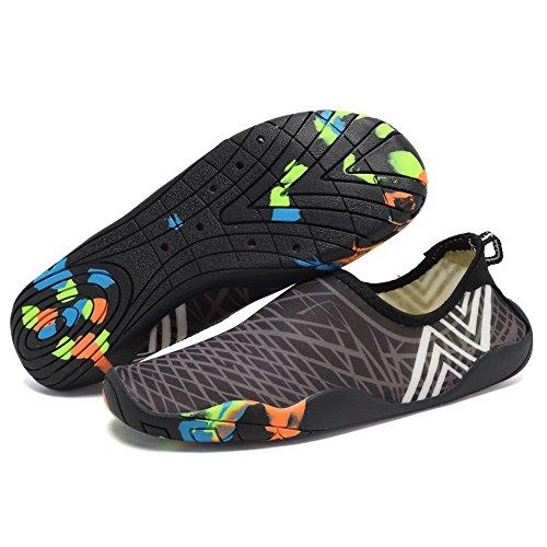 CIOR Männer Frauen Kinder Barfuß Quick-Dry Wasser Sport Aqua Schuhe mit 14 Drainage Löcher für Schwimmen, Wandern, Yoga, See, Strand, Garten, Park, Fahren, Bootfahren T.grau / Tarnsohlen