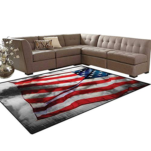 American Flag Bath Mats Carpet Banner in The Sky on Cloudy Mist Display National Symbol Proud of Heritage Girls Rooms Kids Rooms Nursery Decor Mats 5'x8' Grey Red Blue